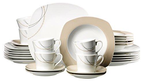 Ritzenhoff & Breker Kombiservice Linda, 30-teilig, Porzellangeschirr, Weiß/Creme