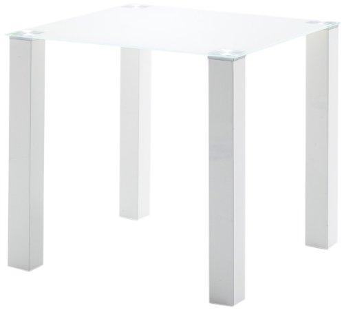 Robas Lund Glastisch Esszimmertisch Gestell Weiß Hochglanz Glasplatte Weiß, Hanna BxHxT 80 x 77 x 80 cm