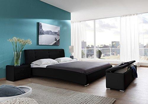 SAM Polsterbett 120x200 cm Bastia, schwarz, mit gepolstertem hohen Kopfteil, Chrom-Füße, als Wasserbett verwendbar