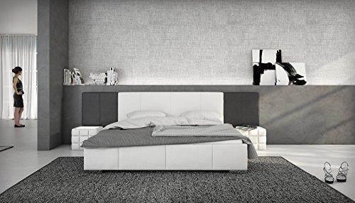 SAM Polsterbett Natal, weiß/schwarz, 140 x 200 cm, integriertes Soundsystem im Kopfteil, Bezug in Lederoptik