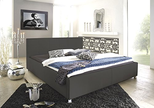 SAM Polsterbett 160x200 cm Katja, grau, Kunstleder, abgestepptes Kopfteil, stilvolle Chromfüße, als Wasserbett geeignet