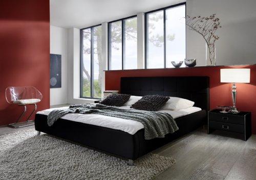SAM® Polsterbett 160x200 cm Zarah, schwarz, Bett mit gepolstertem, hohen Kopfteil, abgestepptes Design