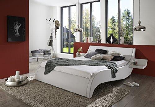 SAM Polsterbett 180x200 cm Macao, Bett aus Kunstleder, weiß, geschwungenes Kopf- und Seitenteil, inkl. Zwei…