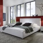 SAM Polsterbett 200x200 cm Zarah weiß, modernes Design, Kopfteil abgesteppt, Chrom Füße, als Wasserbett verwendbar