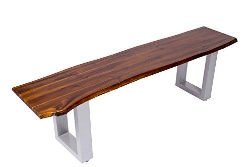 SAM Sitzbank 140x40 cm Ida, Akazien-Holz, massive Holzbank, Baumkantenbank mit silber lackierten Metallbeinen