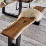 SAM® Sitzbank Quentin 180x40 cm, massive Holzbank, Akazie, echte Baumkante, U-förmiges Metallgestell, Unikat, exklusives Design