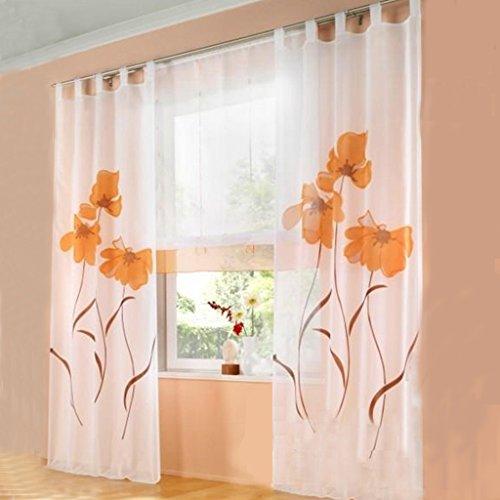 SIMPVALE 2 stücks Gardinenschal Gardine Print Blumen Vorhang für Wohnzimmer Schlafzimmer Schlaufenschal, Breite 150cm…