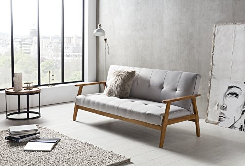 SalesFever Design-Schlafsofa, Sofa-Bett im skandinavischen Stil, modernes 3-Sitzer Klappsofa, Stoff hellgrau, FSC® 100% Holzgestell Eiche
