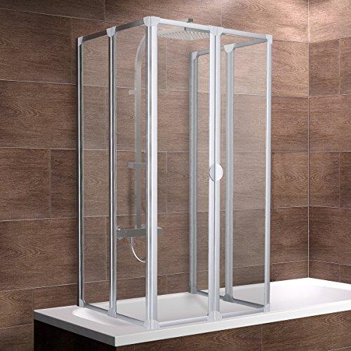 Schulte Duschabtrennung faltbar für Badewanne 70 - 80 cm, einfacher Aufbau, 3 mm Sicherheitsglas Klar hell, alunatur, langlebig, D1700 01 50