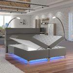 Selsey Torlee – Doppelbett/Boxspringbett in Grau mit Bettkasten RGB-LED und Farbwechsel Funktion (160x200 cm)