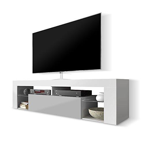 Selsey Poland Hugo TV-Schrank mit Klapptür, MDF Board, Weiß/Grau, 140 x 35 x 50.5 cm