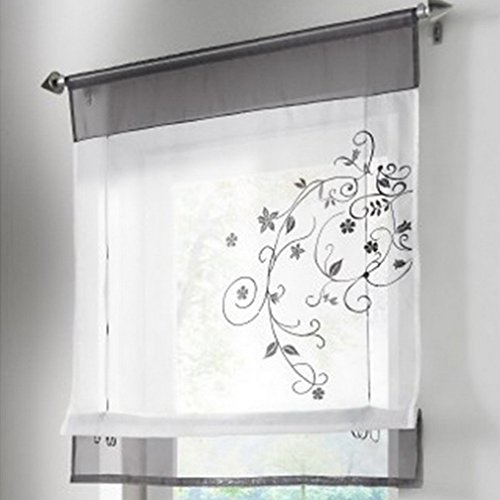 Souarts 1er Raffrollo Stickerei Blumen Voile Raffgardine Transparent Gardine Vorhang Schlaufenschal Deko für Wohnzimmer…
