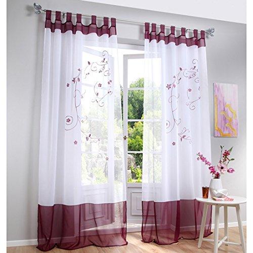 Souarts Stickerei Gardine Vorhang mit Schlaufen Transparent Schlaufenschal für Wohnzimmer Schlafzimmer Studierzimmer…
