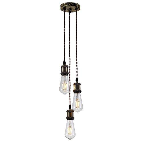 HJXDtech Vintage Retro Pendelleuchten Hängelampe 3-Flammig E27 Edison Lampenfassung DIY retro Industrie-Stil höhenverstellbar Kronleuchter(Ohne Glübirne)