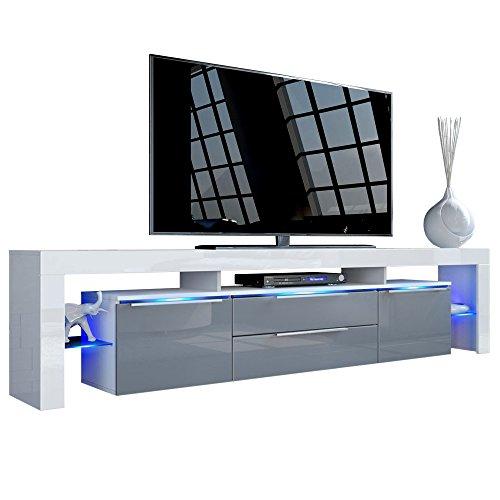 TV Board Lowboard Lima Nova V2, Korpus in Weiß matt / Front in Grau Hochglanz