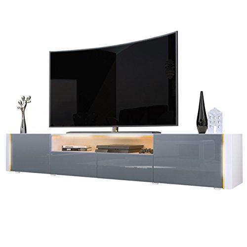 TV Board Lowboard Marino V2 in Weiß / Grau Hochglanz