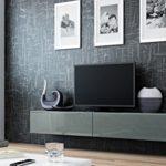 TV Board Lowboard Migo Hängeschrank Wohnwand 180cm (Grau Matt / Grau Hochglanz)