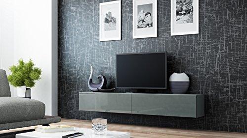Jadella TV Board Lowboard Migo Hängeschrank Wohnwand 180cm (Grau Matt/Grau Hochglanz)