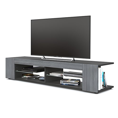 TV Board Lowboard Movie, Korpus in Schwarz matt / Fronten in Avola-Anthrazit