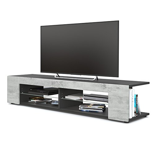 TV Board Lowboard Movie, Korpus in Schwarz matt / Fronten in Beton Oxid Optik