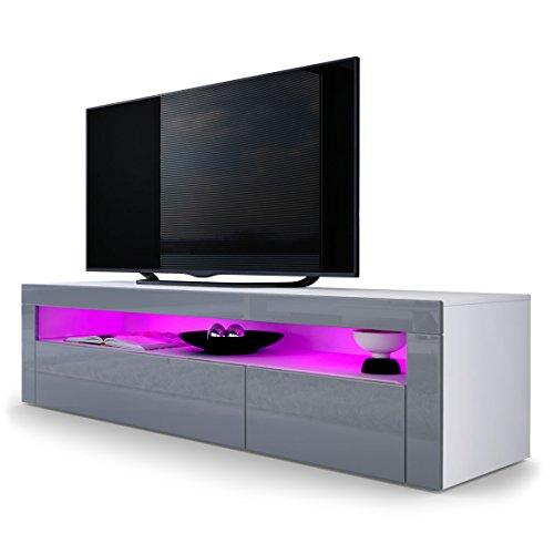TV Board Lowboard Valencia, Korpus in Weiß matt / Front in Grau Hochglanz mit Rahmen in Grau Hochglanz