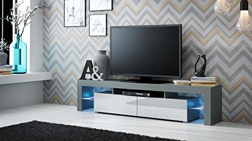 TV Board 'Togo' Hochglanz Lowboard Cube Matt Hifi Fernseherschrank mit LED, Farbe:grau matt / weiß Hochglanz