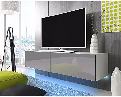 Selsey Skylara TV Hängeboard/TV Schrank, Weiß Matt/Grau Hochglanz, LED-Beleuchtung in Blau, 200x40x34 cm