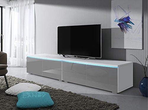 TV Schrank Lowboard Sideboard Tisch Möbel Board Luv Double mit LED (Weiß Matt / Grau Hochglanz)