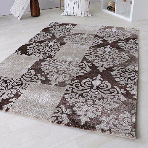 Teppich Modern Designer Kurzflor Versace für Wohnzimmer & Jugendzimmer 12mm Florhöhe. Design Teppich Schwarz Grau Beige Braun mit Öko-Tex Zertifikat (200 x 290 cm, Beige)