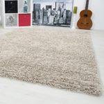 Carpetsale24, Hochflorteppich aus Polypropylen 80x150 cm beige