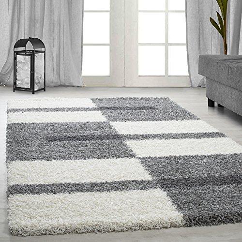 Hochflor Shaggy Teppich, Wohnzimmerteppich, langflor Linien Karo Muster, Farbe:Hellgrau, Maße:120 cm x 170 cm