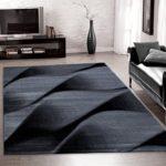 Teppiche PARMA modern designer für Wohnzimmer,kurzflor Wellenteppich meliert,mit modernen Farben wie Schwarz Grau und Weiss_9240, Maße:200x290 cm