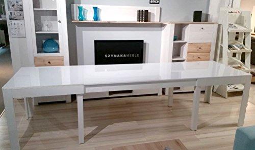 Furniture24 Tisch Küchentisch Esszimmertisch Esstisch WENUS ausziehbar 300 cm !!! (Weiss Hochglanz)