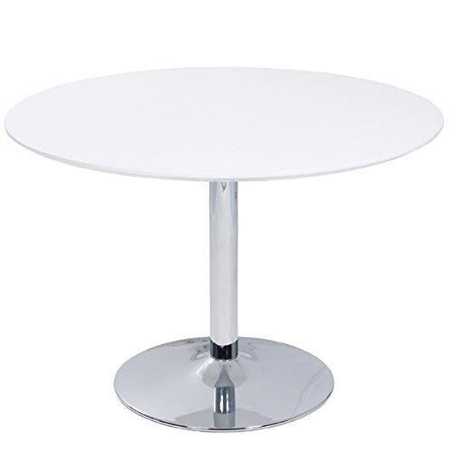 Tisch Lissabon Esszimmertisch Esstisch hochglanz weiß verchromt rund Ø 110 cm