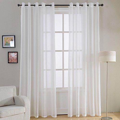 Top Finel 2 Stück Transparent Voile Gardinen Wohnzimmer Vorhänge mit ösen,140 x 245 cm,Weiß