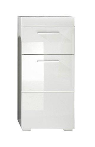 Trendteam 1393-802-01 Badezimmer Schrank Kommode Amanda, 37 x 79 x 31 cm in Weiß Hochglanz mit Schubkasten und pflegeleichten Tiefzieh-Hochglanzfronten