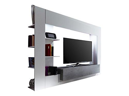 Trendteam HRY Wohnwand TV Möbel Mediawand, Weiß, Grau Betonoptik, 209 x 156 cm