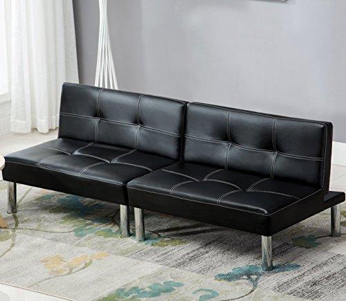 mecor Leder Sofabett Sofa Couch Schlafcouch Schlafsofa Bettsofa in schwarz