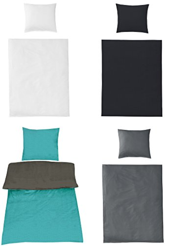 Uni Bettwäsche Baumwolle Seersucker BÜGELFREI in 4 Farben und verschiedenen Größen, 135x200 + 80x80 Schwarz