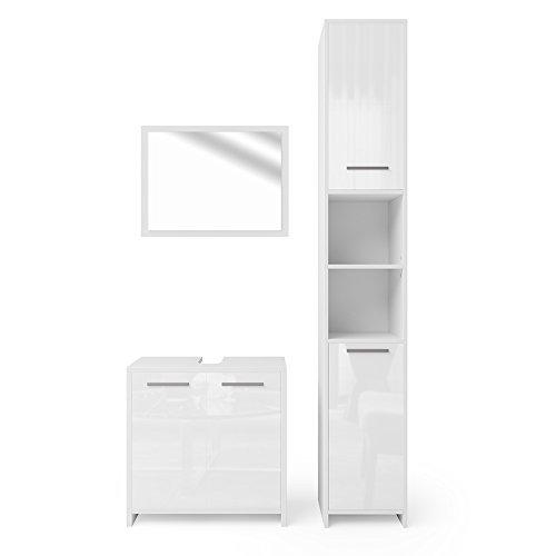 VICCO Badmöbel Set KIKO Weiß Hochglanz / Grau Beton - Badspiegel + Unterschrank + Bad Hochschrank + Bad Midischrank (Weiß Hochglanz, Set 3)