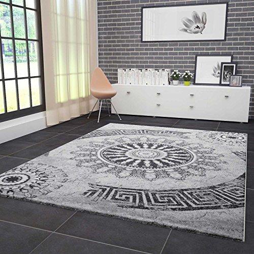 VIMODA Teppich Wohnzimmer Modern Klassisch Sehr dicht Gewebt Meliert Medallion Ornament Muster in Grau Schwarz…