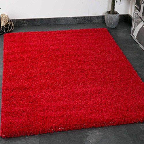 VIMODA Prime Shaggy Farbe Rot Teppich Hochflor Langflor Teppiche Modern, Maße:70x140 cm