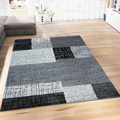 VIMODA Teppich Wohnzimmer Kurzflor Designer Teppiche in Schwarz Grau Weiß Kachel-Optik Kariert Pflegeleicht, Maße:60x110…