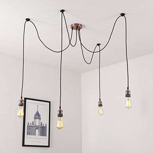 Vintage Pendelleuchte, Elfeland E27 4 Lichter Retro Industrielle Deckenleuchte höhenverstellbar Hängeleuchte mit 3-adrigem Textilkabel DIY Lampe Ideal für Nostalgie und Retro Beleuchtung (ohne Birne) Messing matt