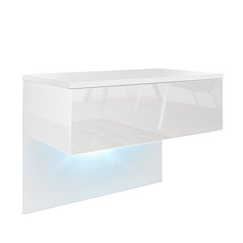 Vladon Nachttisch Nachtkonsole Sleep, Korpus in Weiß Matt/Front und Seiten in Weiß Hochglanz, inkl. LED Beleuchtung