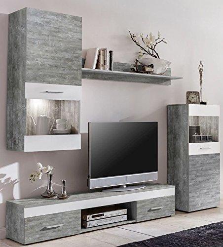 WILMES Easy Wohnwand, Holzwerkstoff, Weiß, 33x210x160 cm
