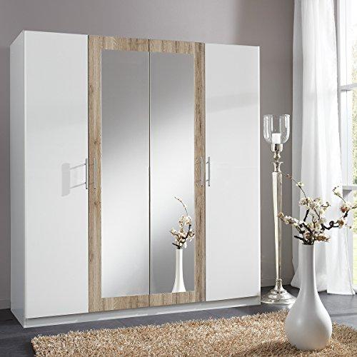 Wimex Kleiderschrank 242452 Drive, Weiß, San Remo-Eiche-Nachbildung, Breite 180 cm