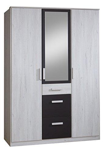 Wimex Kleiderschrank/ Drehtürenschrank Cariba, (B/H/T) 135 x 199 x 58 cm, Weißeiche/ Absetzung Lavafarbig