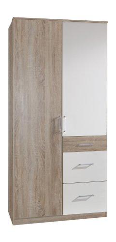 Wimex Kleiderschrank/Drehtürenschrank Click, 2 Türen, 2 große, 1 kleine Schublade, (B/H/T) 90 x 199 x 58 cm, Eiche Sägerau/Absetzung Weiß