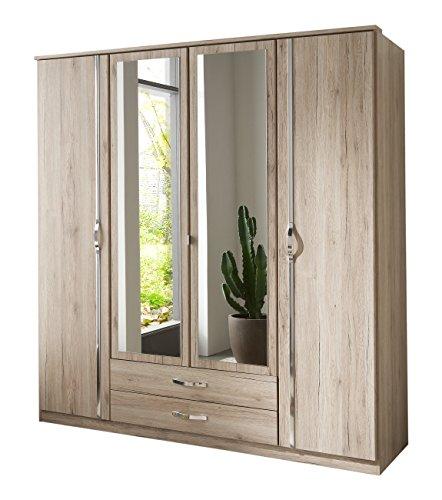 Wimex Kleiderschrank/Drehtürenschrank Duo, 4 Türen, 2 Schubladen, 2 Spiegel, (B/H/T) 180 x 198 x 58 cm, San Remo-Eiche